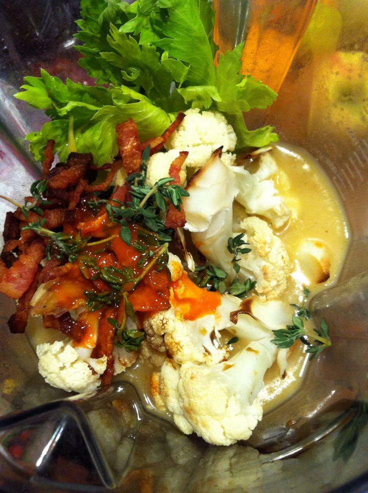 baked potato/cauliflower soup. chop/bake 1.5 C cauliflower & 1 Yukon ...