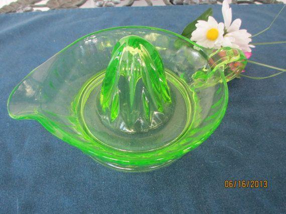 Vintage Green Vaseline Juicer by BitofHope on Etsy, $29.00