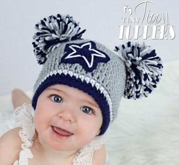 Dallas Cowboys Crochet Baby Hat Pattern : Crocheted Dallas Cowboys Hat Grey Navy Blue