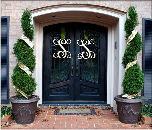 Double door monograms wreaths pinterest for Double door ideas
