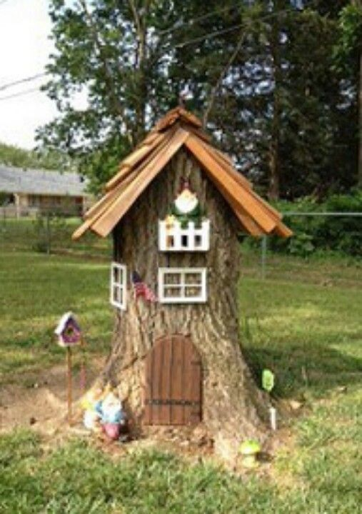 Tree stump turned Gnome home, | Fairy Houses and fairy gardens | Pint…