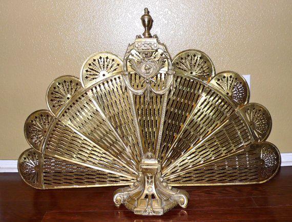 Vintage Brass Fireplace Screen Fan Art Deco Hollywood