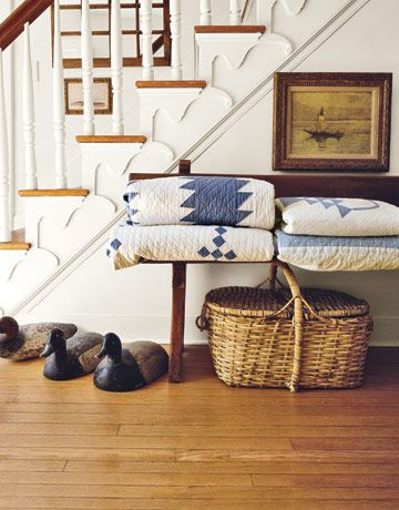Blue and white quilts.  Alexandra Stoddard. photo credit: Andreas von Einseidel  via Country Living