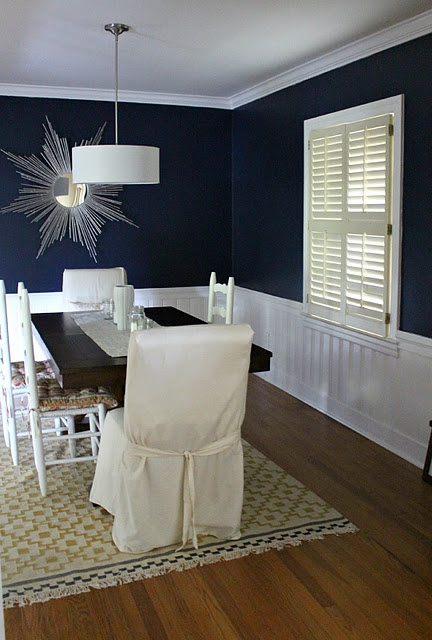 Navy blue wall color for dining room for the home for Navy dining room ideas