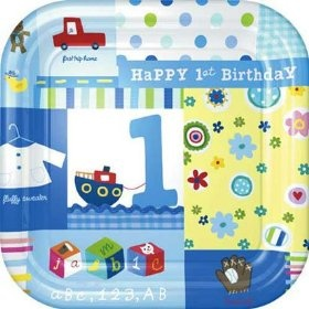 Baby Boy's First Birthday Paper Dessert Plates by Factory Card and Party Outlet