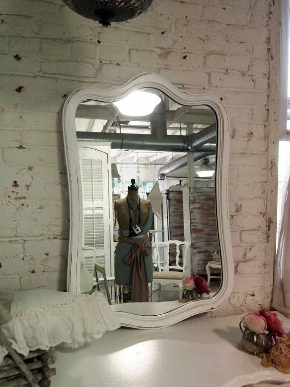 Painted Cottage Chic Shabby White French Mirror by paintedcottages, $65.00