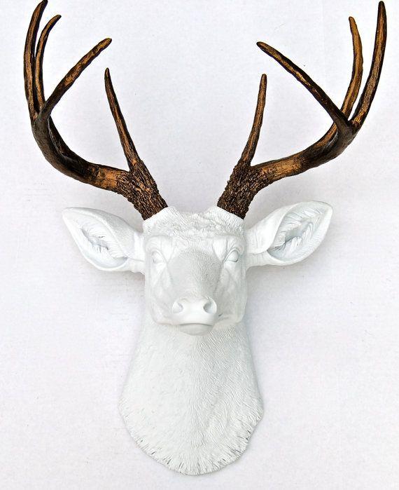 White And Bronze Faux Deer Head Deer Head Antlers Fake