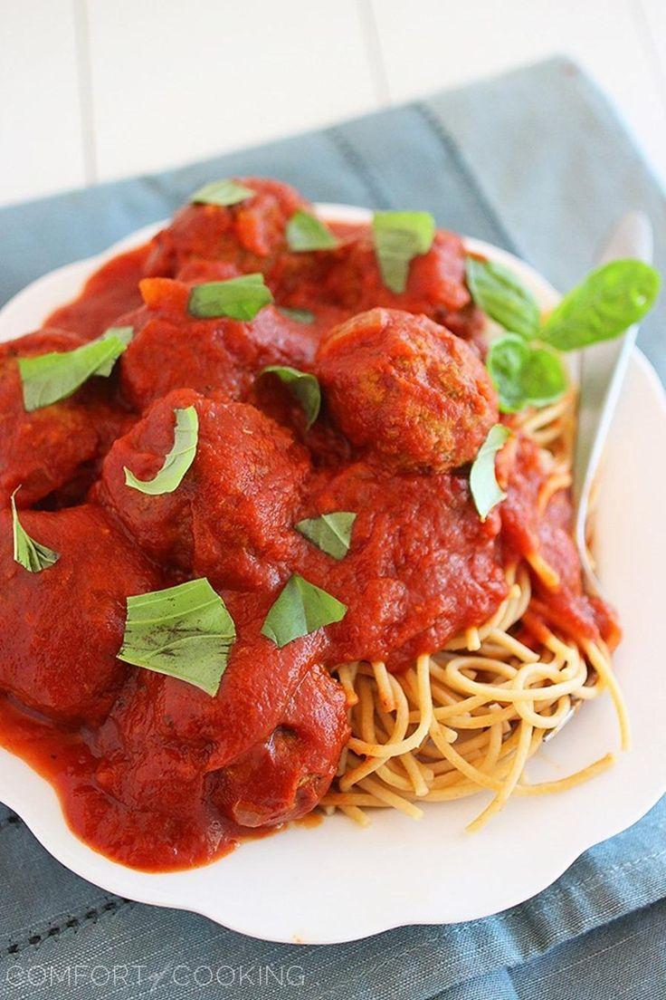 ... Comfort of Cooking » Slow Cooker Turkey Pesto Meatballs & Marinara