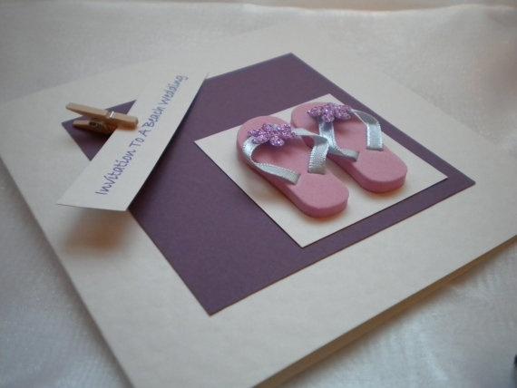 Handmade Miniature Foam Flip Flop Beach Wedding Invitation