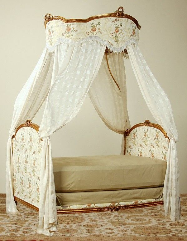 19th c french giltwood bed with canopy antique finds