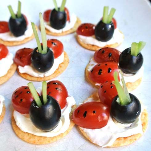 Ladybug canape appetizers repins pinterest for What is a canape appetizer