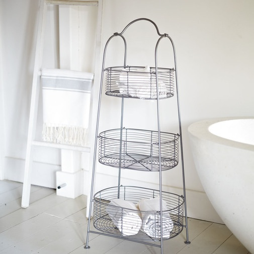 Awesome When I Was Pregnant And Putting Together My Daughters Nursery, I Found These Wire Basket Crates At TJ  Using These Industrial Baskets For Toy Storage, But I Thought They Would Make Perfect Shelves For Our Bathroom After Adding A Bit