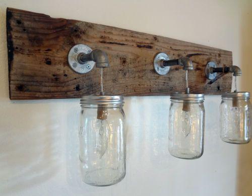 Rustic shabby chic barn wood mason jar hanging light for Rustic barn light fixtures