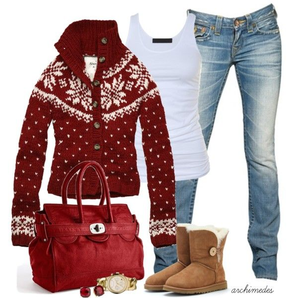 Christmas sweater, white tank, skinny jeans  boots...cute  cozy Christmas look!! #fairislesweater uggcheapshop.com    $89.99  pick it up! ugg cheap outlet and all just for lowest price # boots for this winter