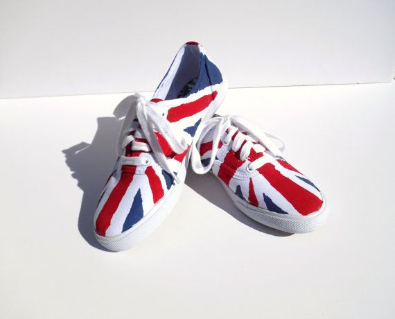 Union Jack Shoes Hand Painted Canvas Shoes by DonnaDesigned, $40.00