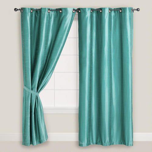 aegean blue dupioni grommet curtain aqua green yellow