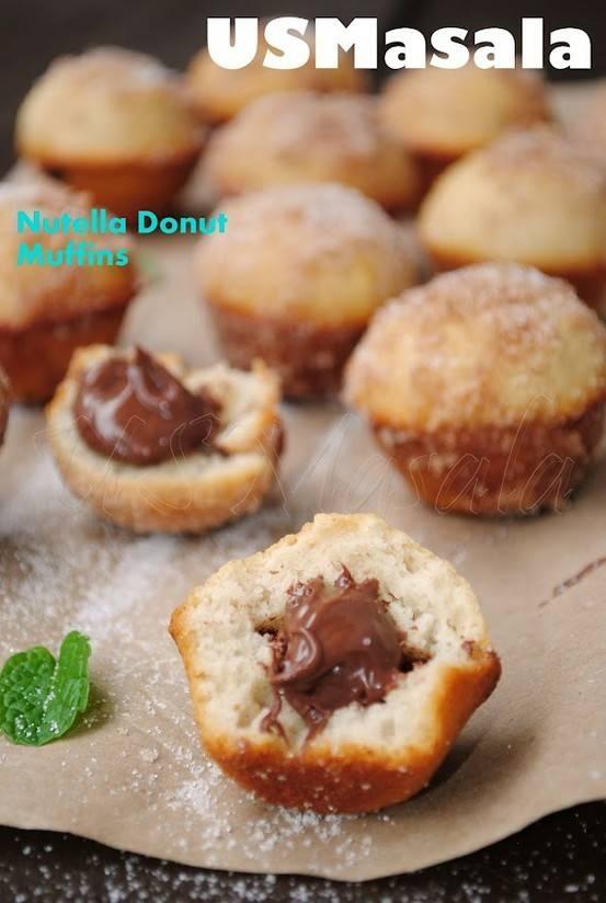 Nutella filled donut muffins | food | Pinterest