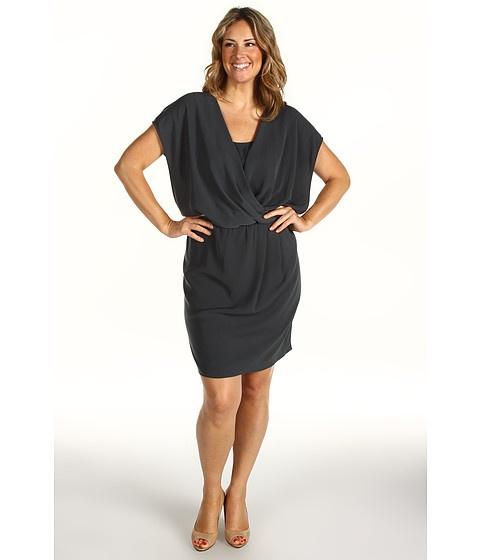 DKNYC Plus Size Tech Crepe Cap Sleeve Drape Front Dress at Zappos.com