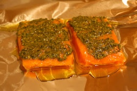 ... Kitchen®: Foil-Baked Salmon Recipe with Basil Pesto and Tomatoes