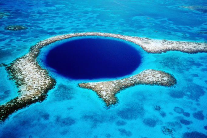 Central America, Belize, The Blue Hole (spend some time laying on a beach on a Caye, and then go in-land to visit jungle, ruins, and cave tubing)