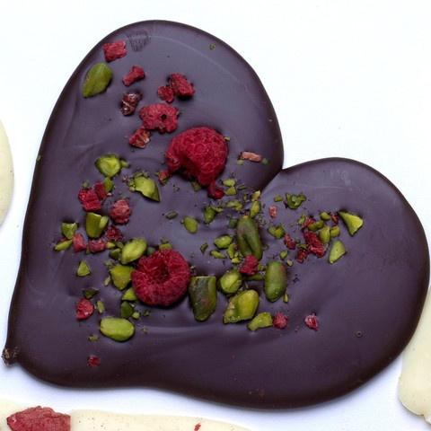 Dark chocolate, pistachio and raspberry brittle hearts - Ottolenghi