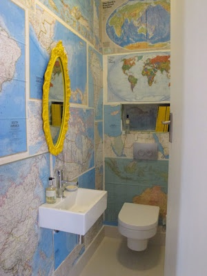 Map bathroom - maybe just for an accent wall and with some sort of affect over it