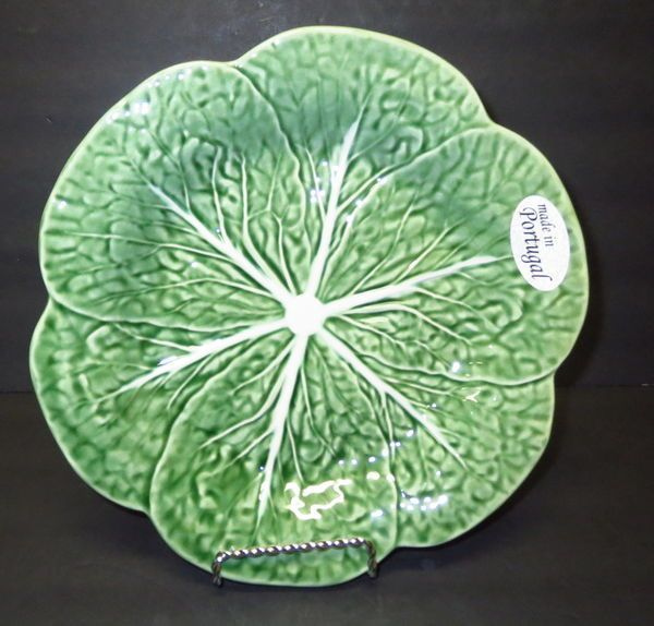 Bordallo pinheiro majolica salad plate green cabbage leaf - Bordallo pinheiro portugal ...