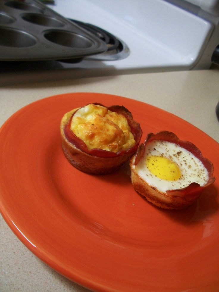 Bacon and egg cups : ) Made these this A.M and they were Delish! And ...
