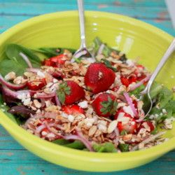 Strawberry Feta Salad with Balsamic-Basil Grilled Chicken (or Not ...