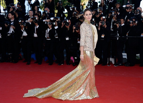 Olivia Palermo in gold Roberto Cavalli in Cannes 2013