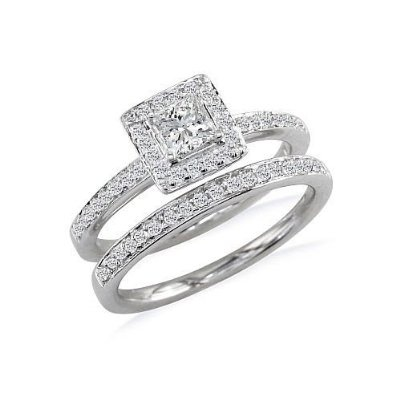 pave princess cut wedding set..looks just like my engagement ring and ...
