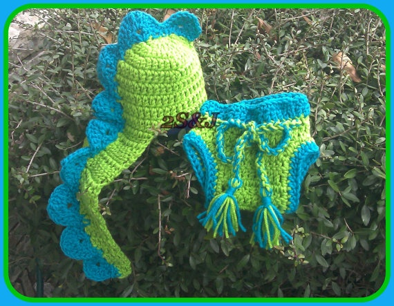 Crochet Dinosaur Hat And Diaper Cover Pattern : Crochet Baby Dinosaur Hat and Diaper Cover SET, Great ...