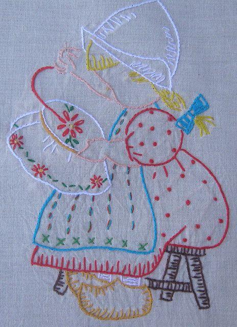 Vintage stitched embroideryDutch Girl