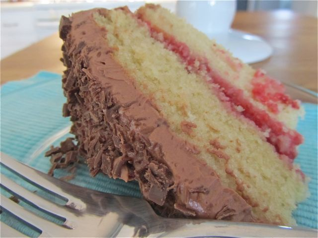... Yellow Cake with Fresh Strawberry Filling and Chocolate Sour Cream