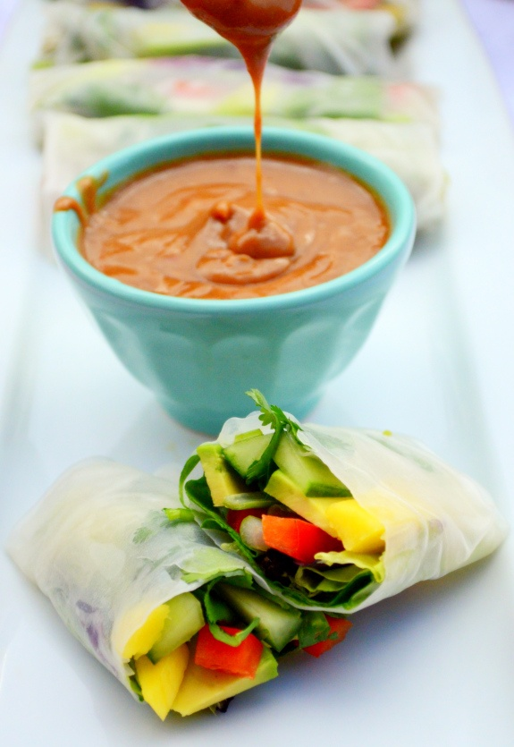Red Pepper + Mango Summer Rolls with Spicy Peanut Sauce | Recipe