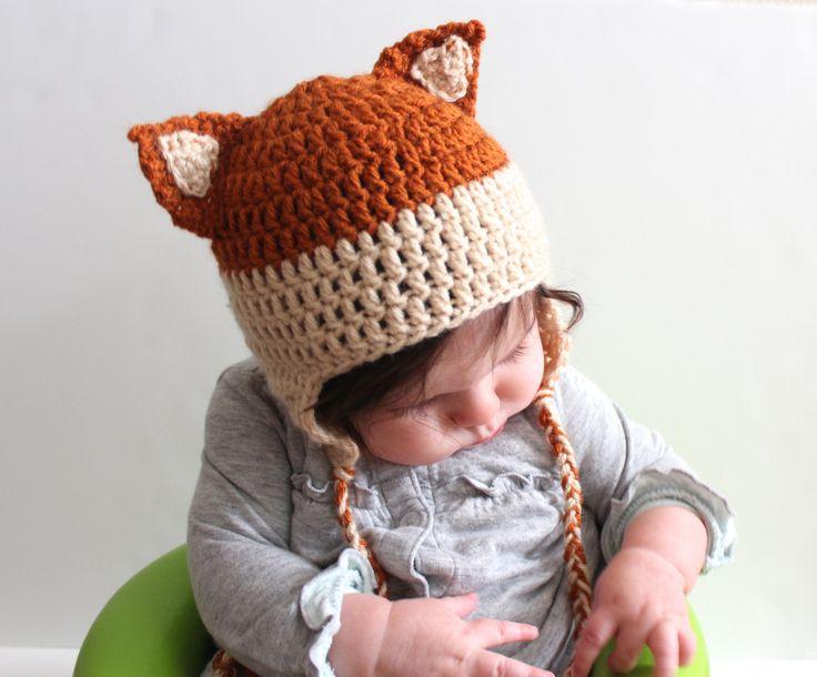 Crochet Fox Hat : Crochet Fox Hat for Baby or Child by PeakDesignsShop on Etsy, $20.00