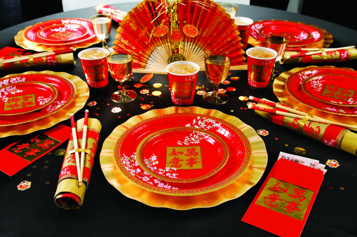 ... range for a Chinese New Year party. Red and gold table decorations