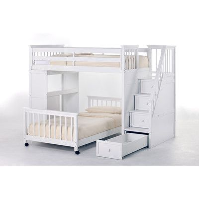 ne kids school house l shaped bunk bed with desk and stairs wayfair