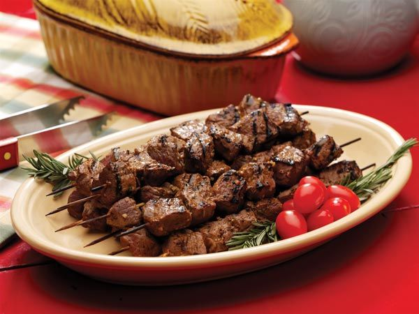 Garlic, herbs and honey give flavor to beef kabobs. data-pin-do=