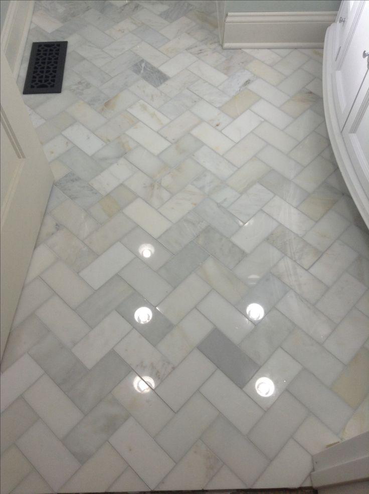 Herringbone marble Bathroom floor | Home Decor | Pinterest