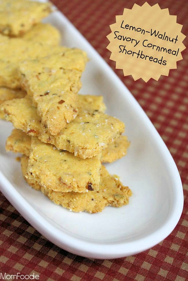 Lemon-Walnut Savory Cornmeal Shortbread Crackers | Recipe
