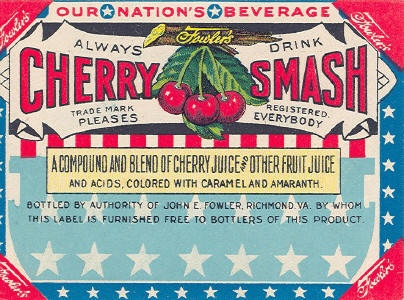 Vintage Cherry Smash juice label