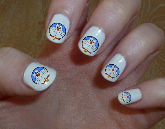 Rub Doraemon Water Slide toboggan Nail Decal papier transfert Nail Art sur autocollant