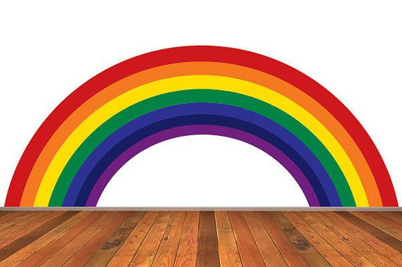 rainbow wall decal traditional colors removable reusable rainbow wall sticker