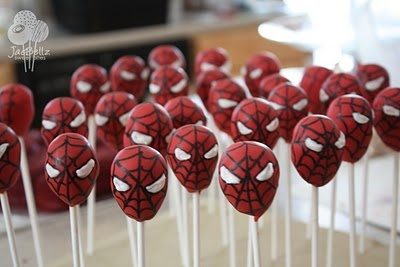 spiderman cakepops pops kids boys party snacks treats idea