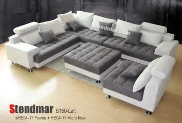 5pc new modern grey microfiber big sectional sofa set. Black Bedroom Furniture Sets. Home Design Ideas