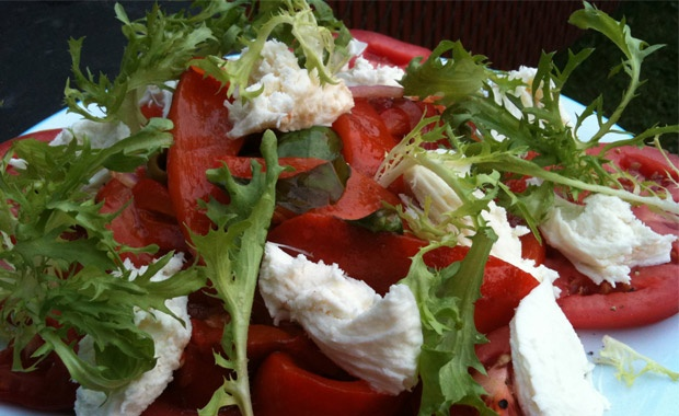 Basil-Marinated Red Peppers with Beefsteak Tomato and Burrata