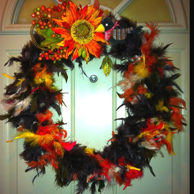 Fall Feather Boa Wreath