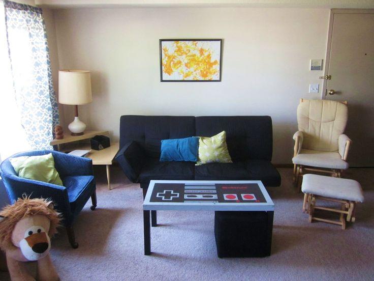 Geek living room nintendo coffee table craftyness for Geek living room ideas