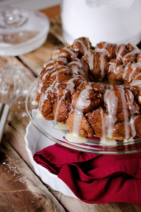 Gingerbread Monkey Bread with Creamy Whiskey Maple Glaze